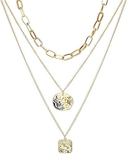 Ahuyongqing Co.,ltd Collar Collar Mujer Collar Hombre Collar Bohemia Retrato Dorado Luna Perla Collares Pendientes para Mujer Collar Largo Vintage Joyas Regalo Niñas Niños Collar