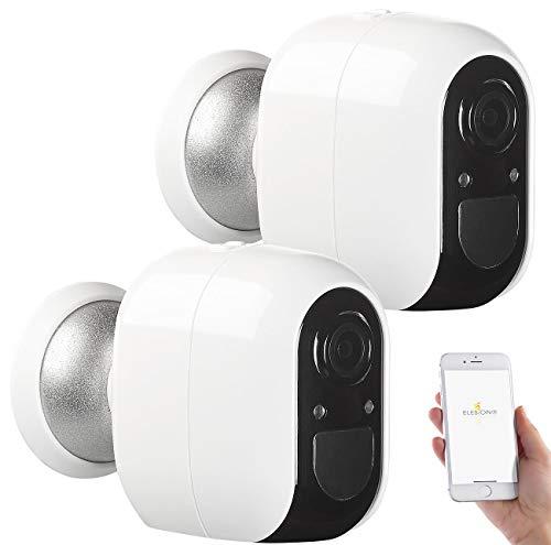 VisorTech Aussenkamera Funk: 2 IP-Überwachungskameras, Full HD, WLAN, App, Batterie-Betrieb, IP54 (Kabellose Überwachungskameras)