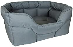 Grey Dog Bed with cushioned puffed sides