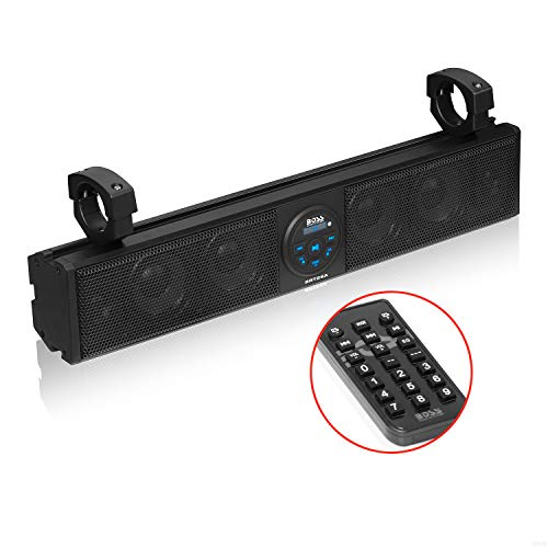 BOSS Audio Systems BRT26A UTV Sound Bar - 26 Inch Wide, IPX5 Rated Weatherproof, Bluetooth, Amplified, 4 Inch Speakers, Horn Loaded Tweeters, Easy Installation for Dune Buggies, Jeeps, Rock Crawlers