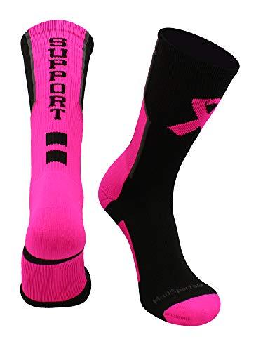 MadSportsStuff Breast Cancer Awareness Support Crew Socks (Black/Neon Pink/Graphite, Large)