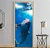 Calcomanía Puertas interiores Dormitorio Papel tapiz extraíble Sala de estar Decoración antigua para el hogar Etiqueta de la puerta 3D Delfines en el mar (77x200cm)