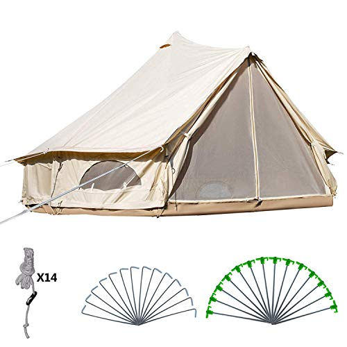 BuoQua Bell Tent 5-8 Persons Canvas Tent with Stove Hole Cotton Canvas Tents 4M Yurt Tent for...
