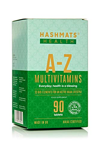 HASHMATS Health A-Z Multivitamins (90 Tablets) Supplement | UK Halal & Vegetarian Certified | Mfd with Pharmaceutical Grade Technology