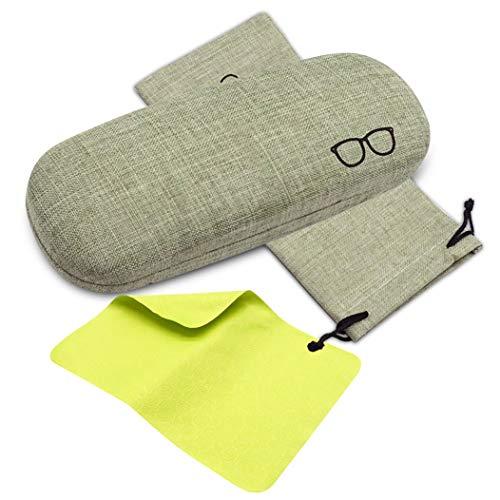 ceydeyjpceydeyjp 超特価セール 眼鏡ケース おしゃれ メガネケース ハードケース 亜麻素材 かわいい シンプル硬いケース 高級メガネケース クリーニングクロス メガネ 拭きクロス 収納袋付き (緑色)グリーンFree