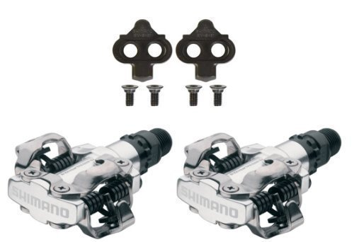 SHIMANO PDM520 Clipless SPD Bicycle Cycling Pedals SILVER With Cleats Bike part