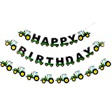 Weimaro Farm Green Tractor Happy Birthday Banner, Tractor Time Party Supplies for Farm Tractor Themed Birthday Decorations