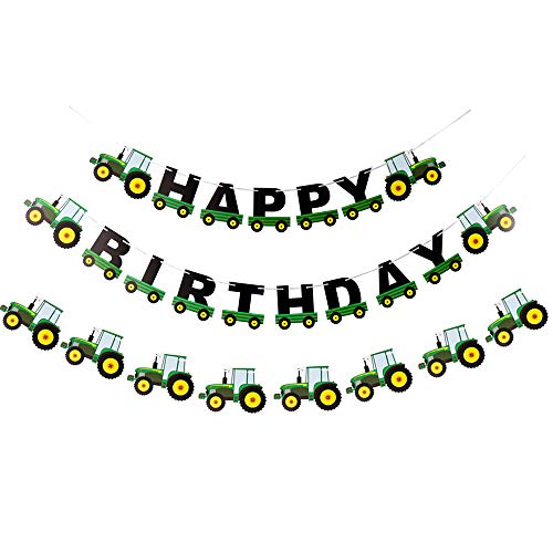 Weimaro Farm Green Tractor Happy Birthday Banner  Tractor Time Party Supplies for Farm Tractor Themed Birthday Decorations