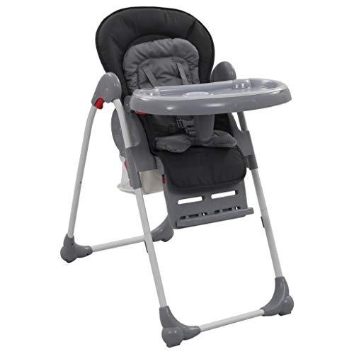 pedkit Kindersitz Baby-Hochstuhl Klappbar Hochstuhl Babystuhl Kombihochstuhl - Rückenlehne, Höhen und Fußstütze Verstellbar - 5-Punkt-Sicherheitsgurt, Grau