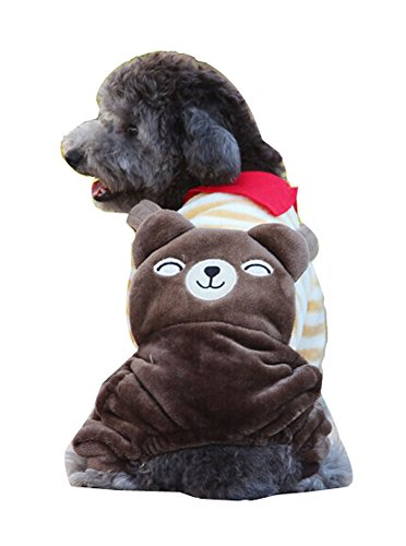 Blancho confortable Coton d'hiver pour chien pour animal domestique Vêtements (café Ours Brun, taille L)