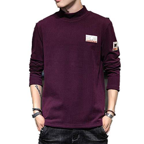 Leisure - Camiseta de Manga Larga para Hombre (Cuello Alto, Primavera, otoño) Rojo Vino Tinto Medium
