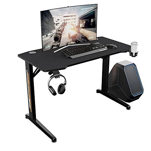DlandHome Ergonomischer Gaming Tisch, Computertisch Gaming Desk 114x60x75cm Schreibtisch mit Kopfhörer-Hakenhalter, Getränkehalter & Kabel-Management,Schwarz