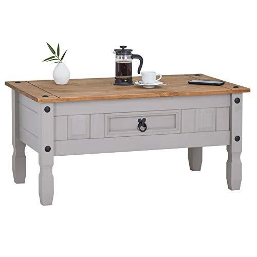 CARO-Möbel Couchtisch Ramon im Mexiko Stil Wohnzimmertisch Beistelltisch Kiefer massiv, grau/braun lackiert mit 1 Schublade
