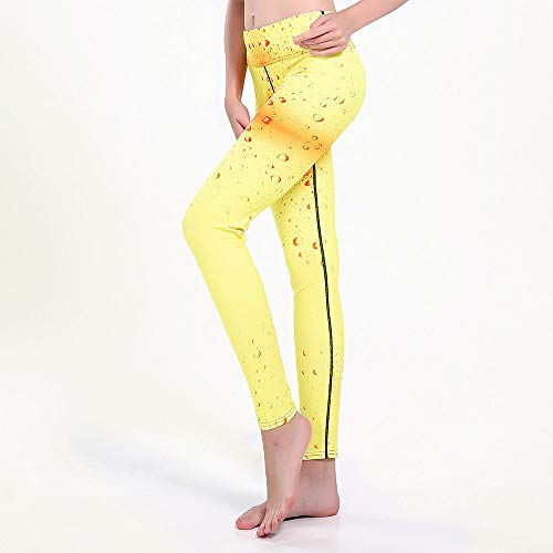 Yoga Impresión Pantalones,Agua Amarilla Para Mujer Cae Entrenamiento De Impresión 3D High Waisted Yoga Pattern 3/4 Pants, Thin And Light Quick-Drying Hip-Lifting Tummy Control, Leggings De Moda Str