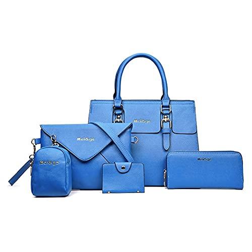 Juego de 5 piezas de bolsa compuesta para mujer, bolsas de piel sintética de moda, bolso de hombro único diagonal (color: azul)