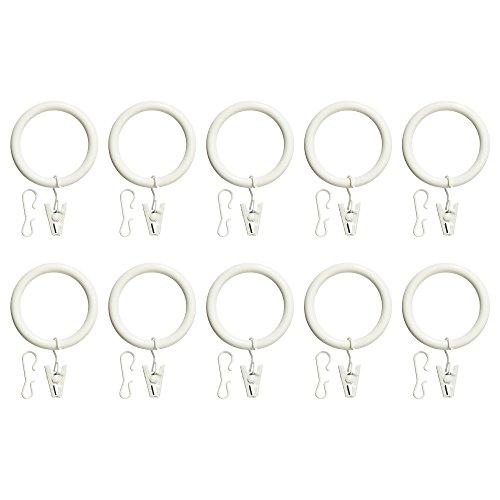 ZigZag Trading Ltd IKEA Portion Vorhangring mit Clip und Haken, weiß gebeizt, 10 Stück