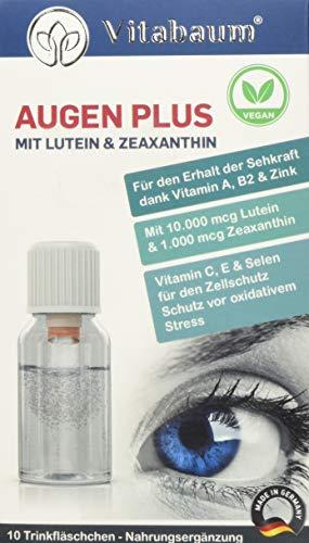 Vitabaum Augen Plus mit 10.000 mcg Lutein und 1.000 mcg Zeaxanthin, Vitamin A, B2 und Zink (Für den Erhalt der Sehkraft) 10 Trinkfläschchen á 10ml, Vegan