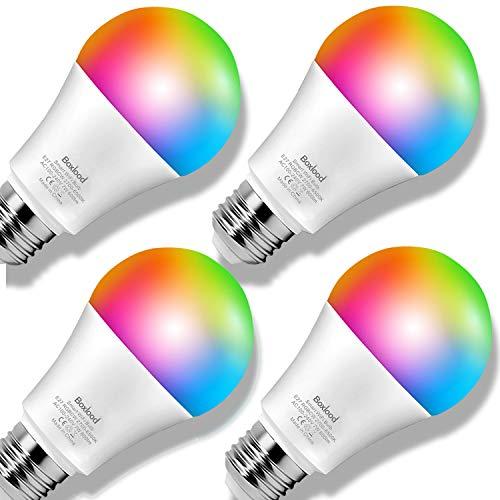 Boxlood Smart Lampe WLAN Glühbirnen E27 Dimmbare LED 2700-6500K Warmes Weiß bis Kühles Weiß, RGBCW Multicolor Birne, Kompatibel mit Alexa und Google Assistant, Smart Life, ohne Hub benötig, 4er Pack