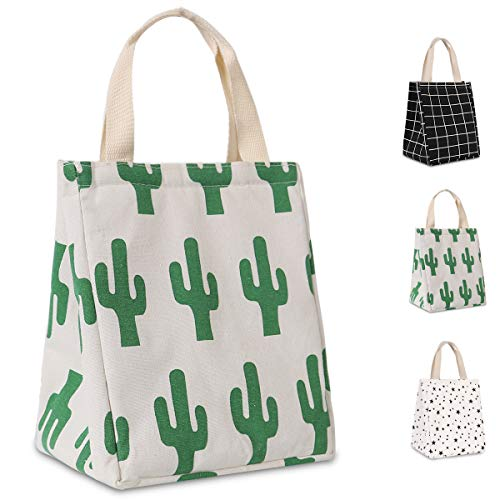 HOMESPON Reusable Lunch Bag Insulated Lunch Box Cute Canvas Fabric with Aluminum Foil, Printed Lunch Tote Handbag Fordable for Women,Men,School, Office (Cactus)