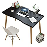 TY&WJ Modern Bedroom Computer Desk,39' Solid Wood Computer Table,Home Office Desk Study Desk,Compact Writing Workstation Gaming Desk PC Desk-Black 100x60x73cm(39x24x29inch)