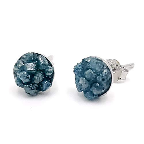 Raw blue diamond stud earrings, April birthstone earrings with 925 sterling silver setting, white gold plated, raw natural diamond clusters, uniquelan jewelry