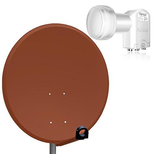 PremiumX Digital SAT Anlage 80 cm Schüssel Spiegel Aluminium Antenne Ziegelrot ALU + Opticum Quad LNB 0,1dB für 4 Teilnehmer Satanlage