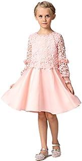 子供ワンピース ドレス ピンク 長袖 レース フォーマル 女の子 ジュニア ピアノ発表会 パーティー 結婚式 七五三