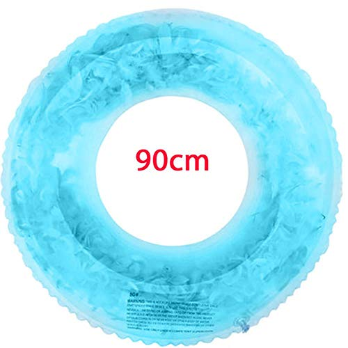 SPI opblaasbare blauw roze veren zwembad Float hart zwemmen ring glanzend liefde cirkel zwembad ring, blauw 90cm