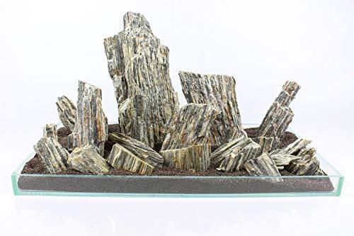 Retne leisteen decoratie aquarium natuurstenen leisteen steen zwart natuursteen, 1kg, Houten steen