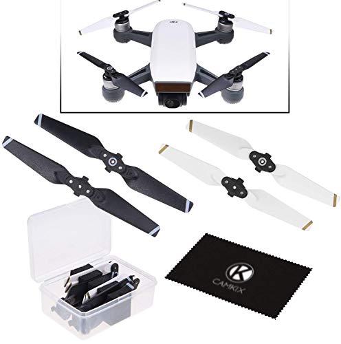 CamKix Propeller Kompatibel mit DJI Spark - 1 Set (4 blätter) - Schwarz+Weiß - Praktischer Aufbewahrungsbox - Quick Release Flügel - Fluggetestetes Design - Unverzichtbares Accessoire