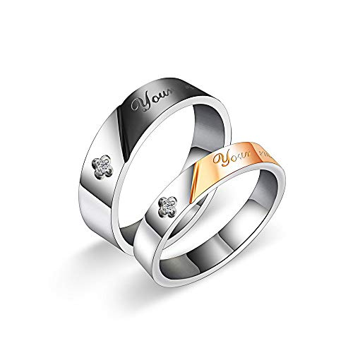 ZhongYi Eenvoudige, tweekleurige ring van titanium staal diamant 女戒7#(53)17mm男戒7#(53)17mm