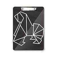抽象折り紙犬の幾何形状 フラットヘッドフォルダーライティングパッドテストA4
