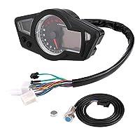 モーターサイクルスピードメーター、ユニバーサルモーターサイクルデジタルLCD走行距離計スピードメータータコメーター15000RPM、スピードセンサー付き