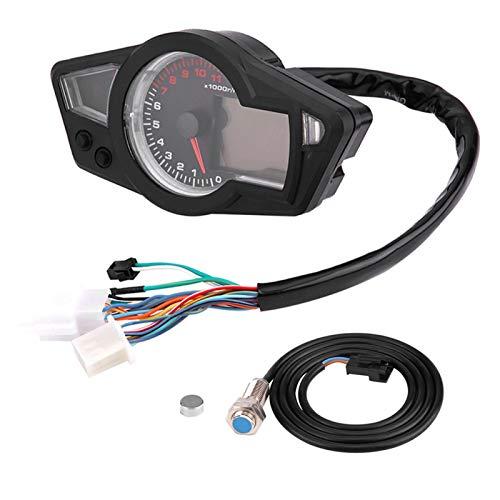 Yctze Odómetro para Motocicleta plástico Negro Motocicleta LCD Digital odómetro a Prueba de Agua velocímetro tacómetro con Sensor de Velocidad para Motocicleta DC 12V