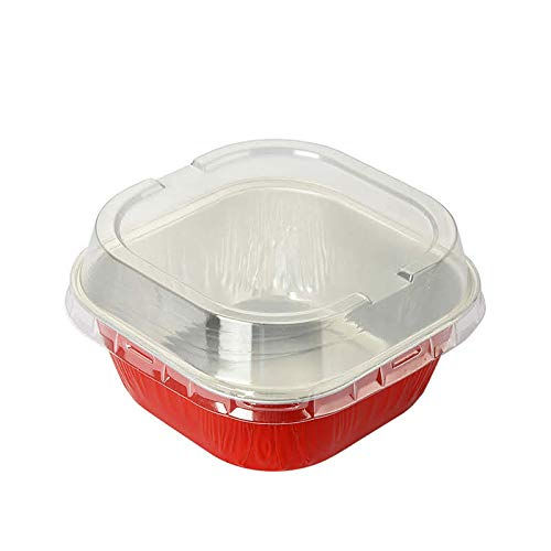 KitchenDance Disposable Aluminum 4' x 4' Square 8 ounce Dessert Pans W/Lids - #ALU6P (Red, 100)