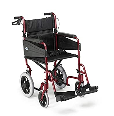 Days Escape Lite Wheelchair, Self Propelled Lightweight Aluminium with Folding Frame, Mobility Aid, Comfy and Sturdy, Portable Transit Travel Chair, Removable Footrests, Narrow, Ruby Red