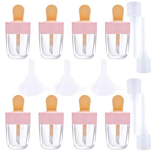 Tubo de brillo de labios vacío,8 piezas de botella de helado rosa, recipiente de bálsamo labial recargable con embudos,tapones de goma,tubo muestra cosmético para muestra de lápiz labial de bricolaje