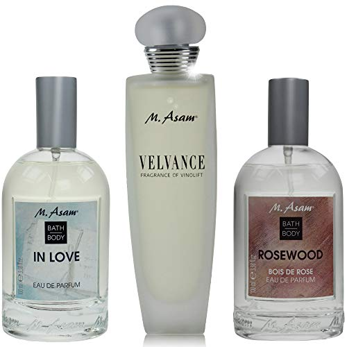 M. Asam® Eau de Parfum In Love (100ml) + Rosewood (100ml) + Velvance Fragrance of Vinolift (100ml)