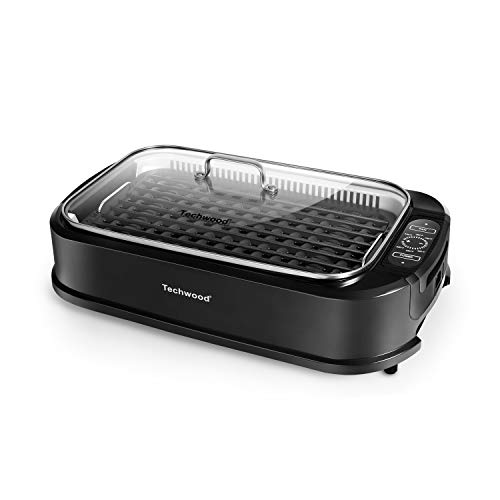 Indoor Grill Electric Grill, Techwood Indoor Smokeless Grill 1500W Power Electric BBQ Grill with Glass Lid & Removable Non-Stick Grill Plate, Turbo Smoke Extractor Technology, LED Smart Control Panel