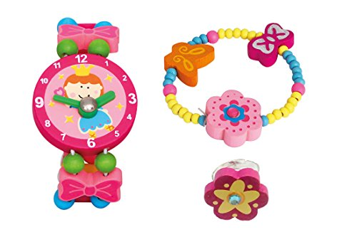 Bino 3 TLG. Set Holzschmuck Mädchenschmuck Kinderschmuck Motiv Blume Rosa - Armband Armbanduhr Ring