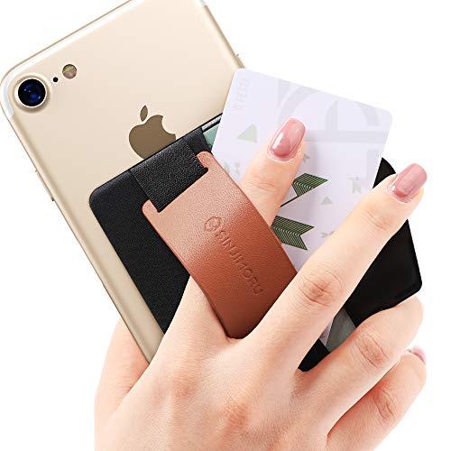 Sinjimoru スマホスタンド カード入れ、落下防止 ハンドストラップ どこでも楽に動画 視聴できるレザースタンド、クレジットカード SUICAカードが収納できる 手帳型 カードホルダー。シンジポーチB-GRIP ブラウン。