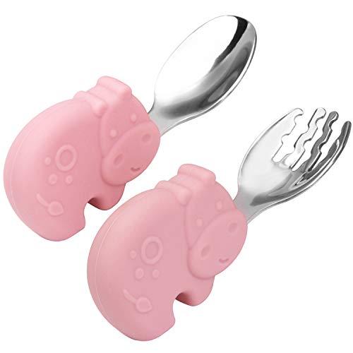 Qshare Juego de cuchara y tenedor para bebé, niños pequeños que alimentan la cuchara de entrenamiento, hecha de silicona y acero inoxidable, perfectas cucharas de autoalimentación para aprender