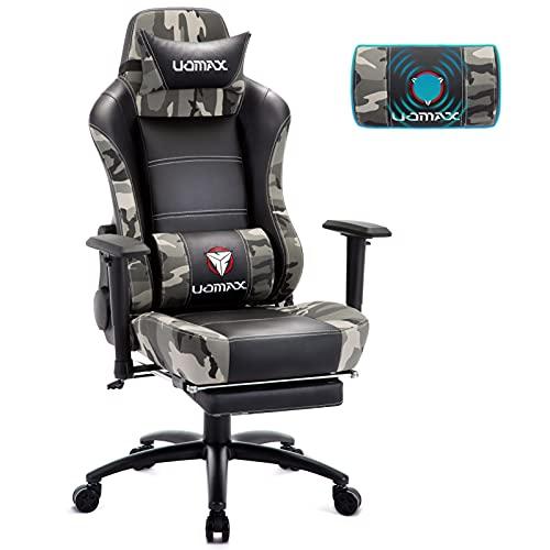 UOMAX Gaming Stuhl mit Massage, Ergonomischer Gamer Sessel mit Breites flaches Kissen, Racing Computer Gamer Sessel mit Fußstütze, Köper Tuch E-Sports Spielesitz aus PU Leder Gamer Stuhl(Camouflage)