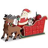 BAKAJI Calendario dell' Avvento Slitta Babbo Natale in Legno con 24 Cassetti Sorpresa Numerati Decorazioni Addobbi Natalizi