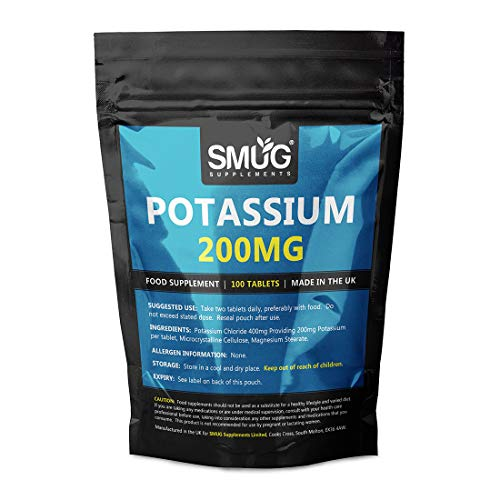 Potassium 200mg Tablets | Smug Supplements | Can Contribute to Normal Blood Pressure, Nervous System, Muscle Health and Electrolyte Balance (600 Tablets)