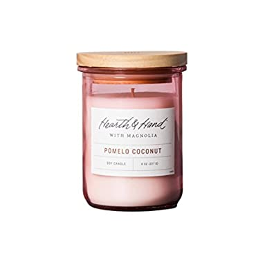 Hearth and Hand Magnolia Lidded Jar Container Candle 8oz Farmhouse Joanna Gaines Collection (Pomelo Coconut)