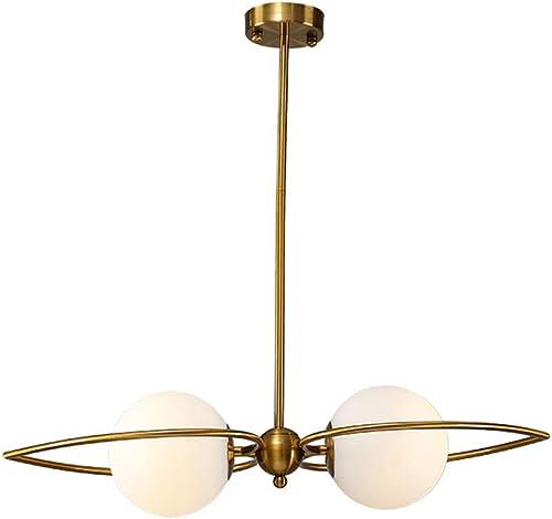 Postmoderne lustre en cuivre à deux têtes doré réglable salon pendentif lumière abat - jour en verre chambre salle à hommeger décoration plafonnier E27