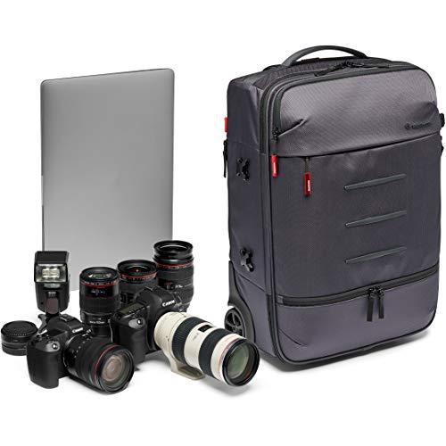 Manfrotto MB MN-R-RN-50 Manhattan Runner-50 Kamera-Trolley mit Stativbefestigung, herausnehmbarem Kamera-Case, für DSLR- und spiegellose Kameras mit mittlerem/langem Objektiv, beschichtetes Gewebe