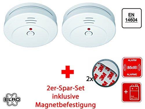 2er Set optischer Rauchmelder inkl. Magnethalter, EN 14604, 85dB, RM144C Set-2