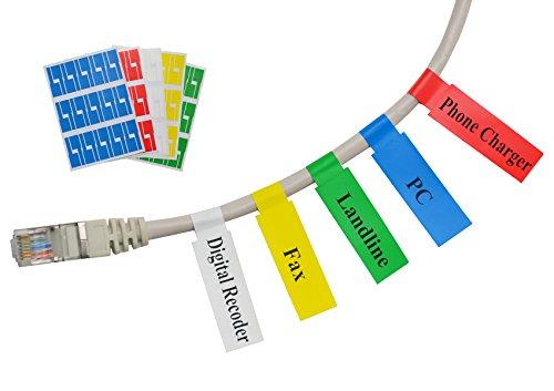Mr-Label (10 hojas, 300 etiquetas) Autoadhesivo Etiqueta del cable - a prueba de agua | Resistente a la rotura | Durable - con la Herramienta de impresión en línea gratuito (5 Colores variados)